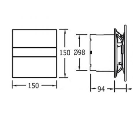 Вентилатор за баня E-100 G, бяло стъкло  ф100