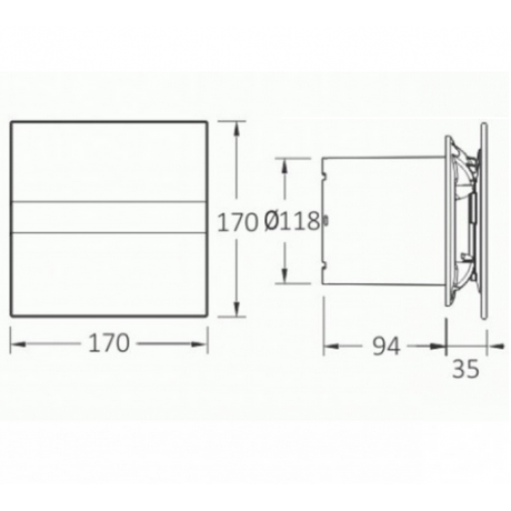 Вентилатор за баня E-120 G, бяло стъкло ф120