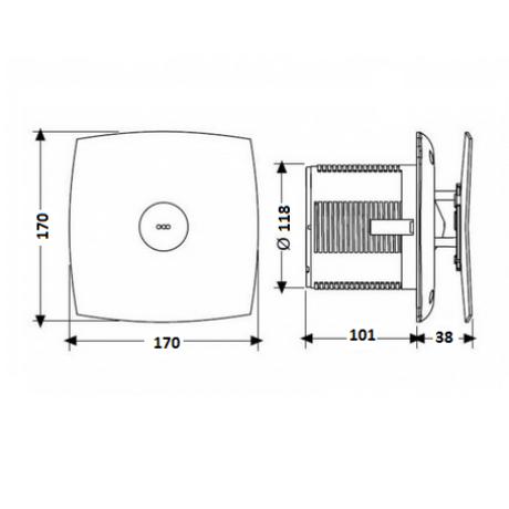 Вентилатор за баня с клапа, бял X-MART MATIC Ф 120