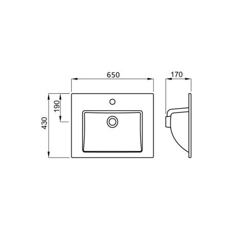 LINEA 65 / 43 умивалник за мебел или плот