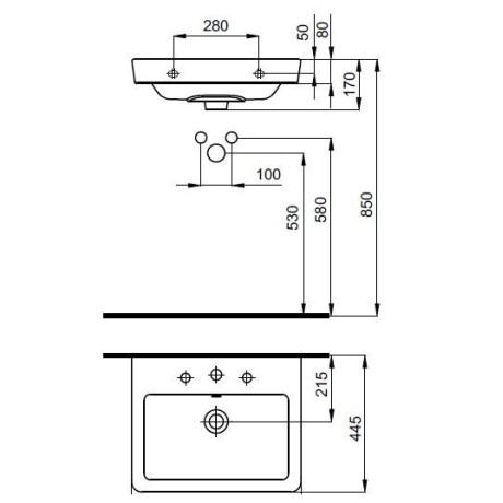 CASERTA 55 / 45 умивалник за стенен монтаж или върху мебел